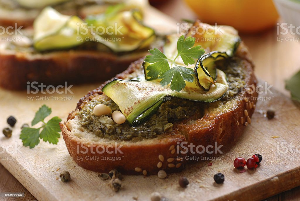 crostini with zucchini royalty-free stock photo