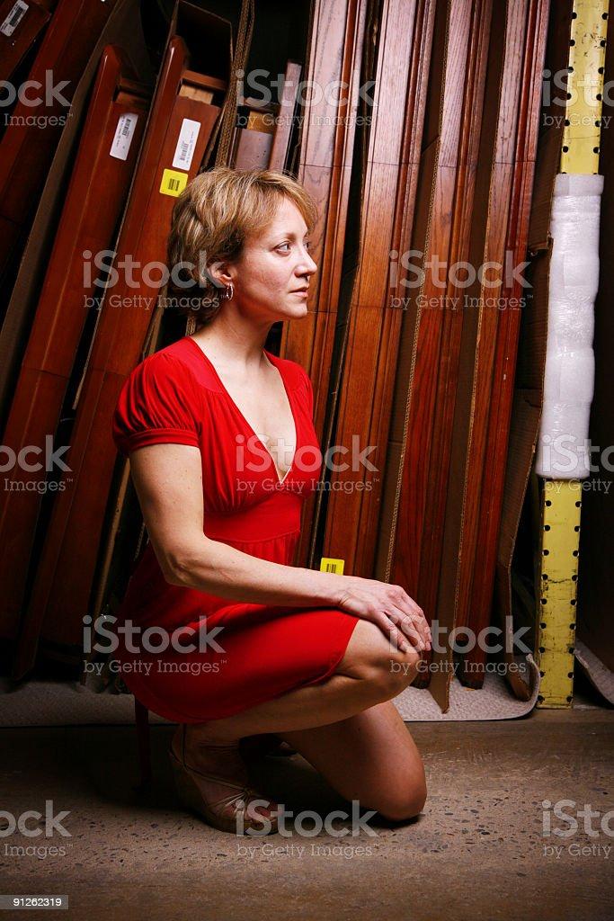Crouching profile portrait royalty-free stock photo