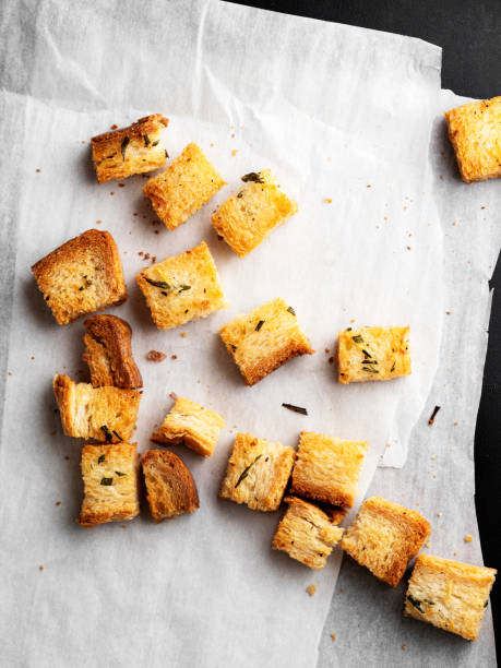 Croutons,Fresh Homemade French Croutons stock photo