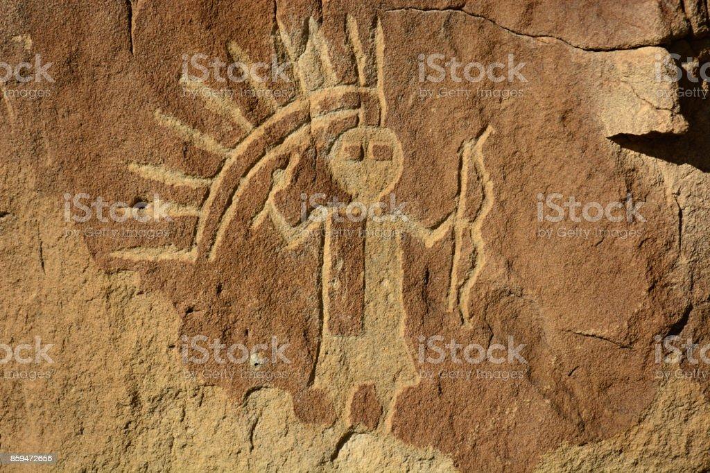 Crow Canyon Petroglyph Panel - New Mexico, USA stock photo