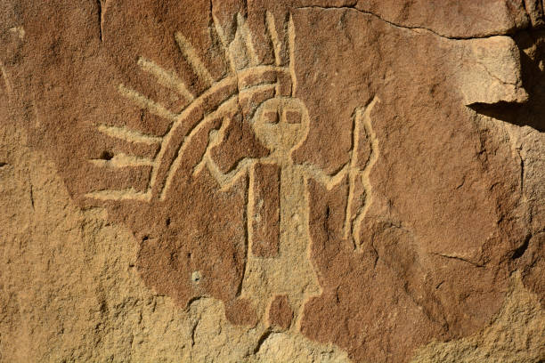 karga kanyon petroglyph paneli - new mexico, abd - mağara resmi stok fotoğraflar ve resimler
