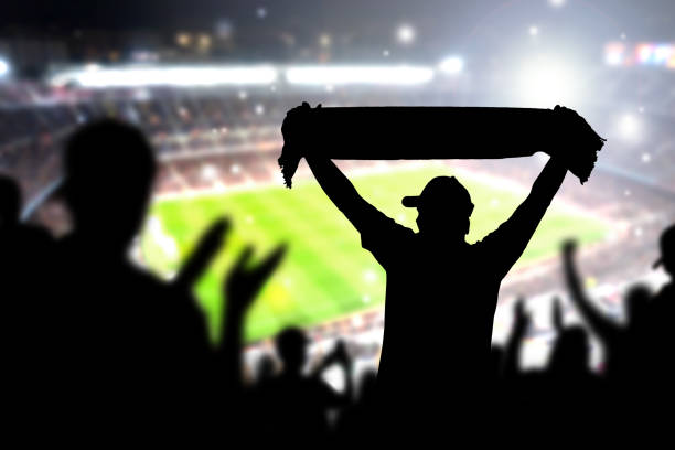 Crowd and fans in football stadium. People in soccer game. Person celebrating goal and holding merchandise scarf for favourite club and team in match. stock photo
