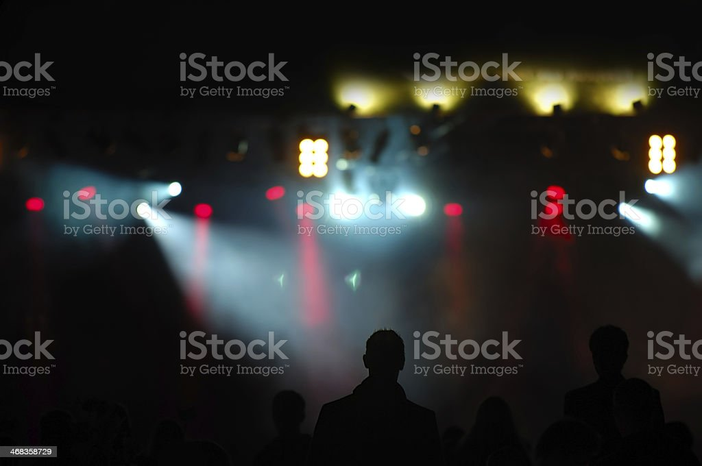 crowd and spotlights royalty-free stock photo