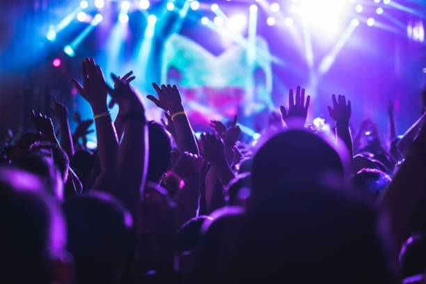 Crowd applauding on a concert Audience enjoying a concert on a music festival. nightclub stock pictures, royalty-free photos & images