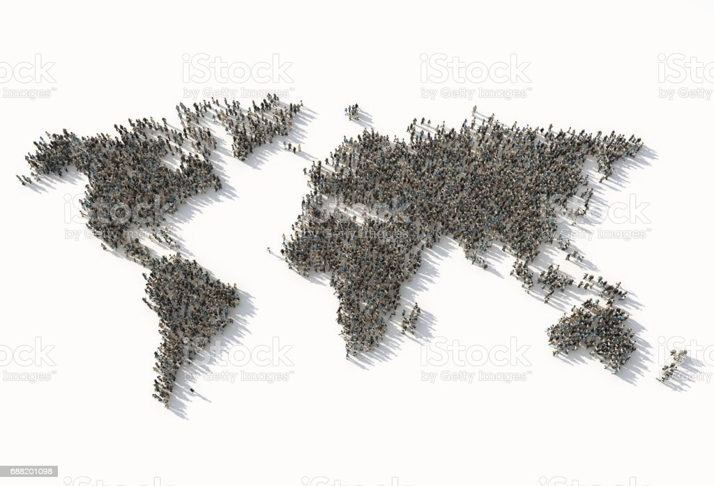 crowd as a world map stock photo