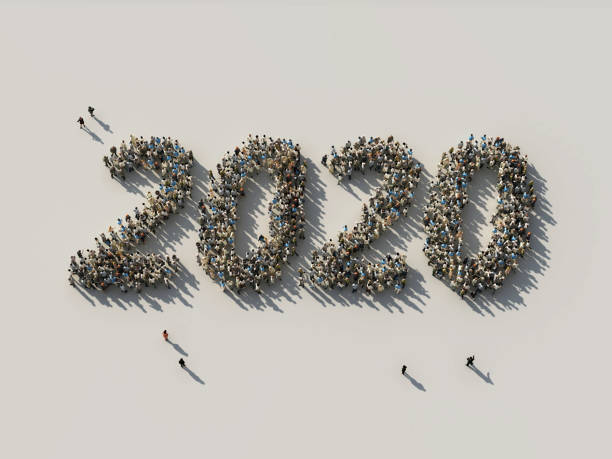 crowd as the 2020 numbers crowd as the 2020 numbers, 3d annual event stock pictures, royalty-free photos & images