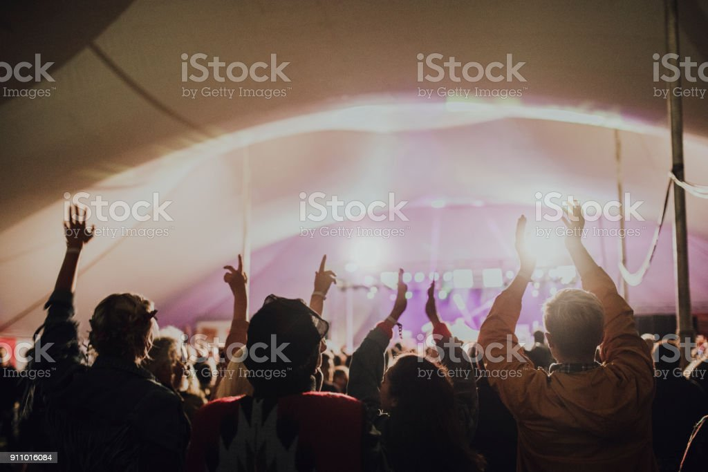 Crowd at a Music Festival stock photo