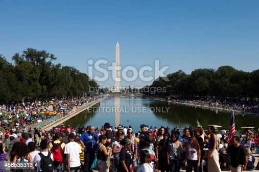 Washington DC, USA, October 2,2010. A shot of the crowd at the One Nation Rally, a march for union and civil rights. The Reflecting Pool, Washington and the Capitol building can be seen in the distance.