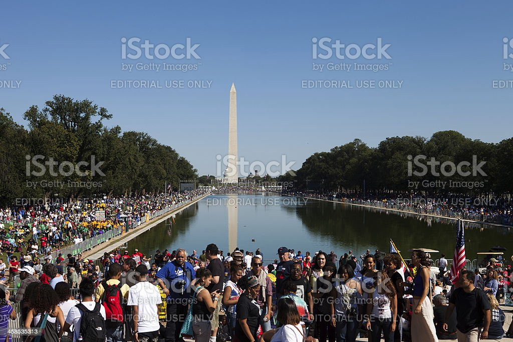 Crowd at a rally in Washington D.C. stock photo