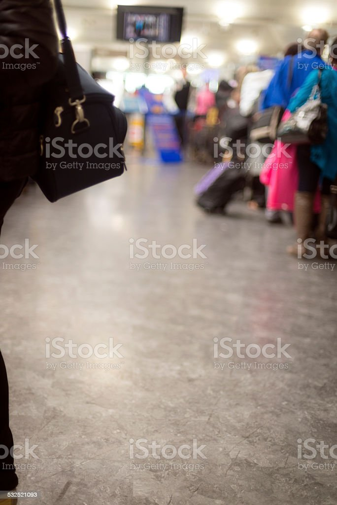 Crowd at Airport Security Check, Istanbul, Turkey stock photo