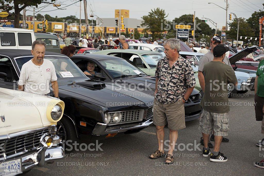 Crowd at Car Gathering stock photo