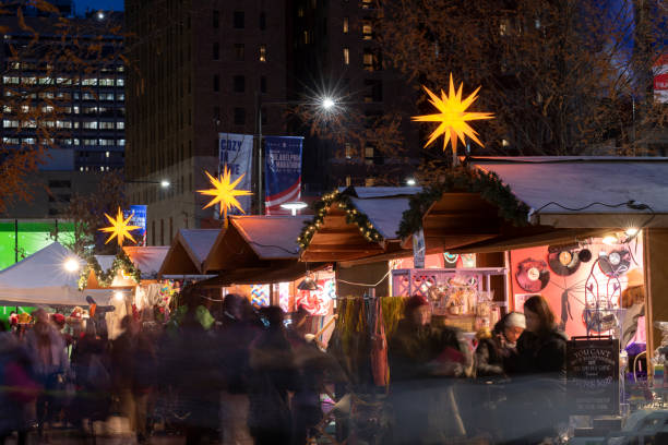 Crowd at Christmas Village at Love Park in downtown Philadelphia