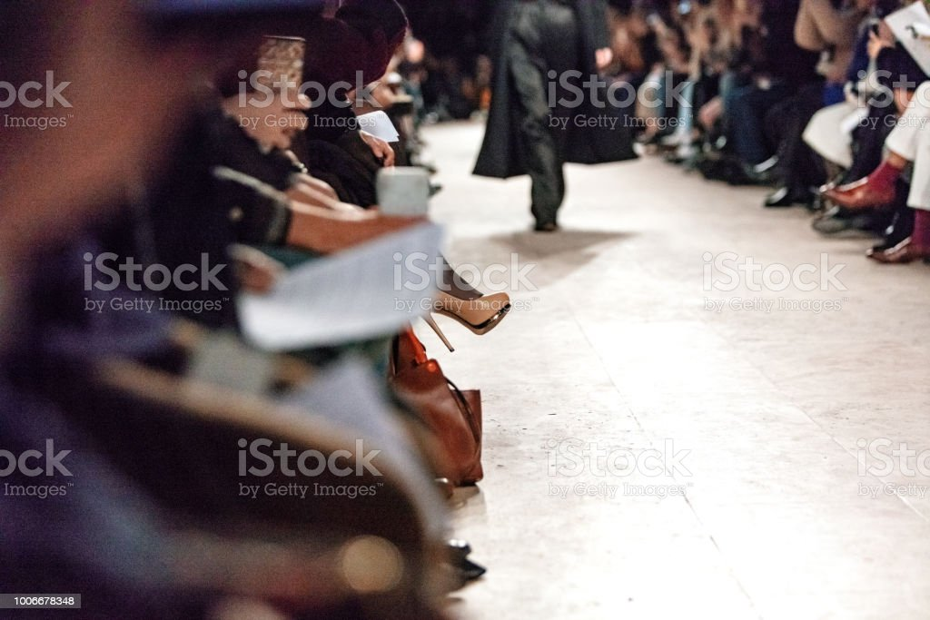 Crowd at fashion show stock photo