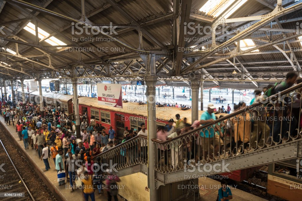 Crowd at Fort railway station in Colombo, Sri Lanka stock photo