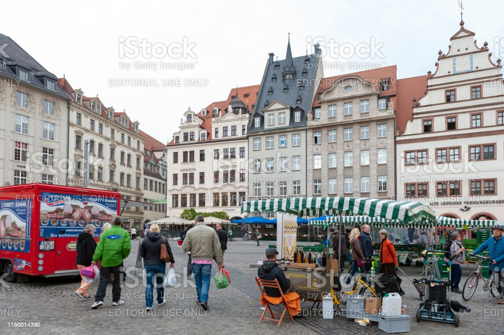 Crowd At Marktplatz The Market Square In City Centre Of Leipzig In Germany Surrounded By Historic Buildings Stock Photo Download Image Now Istock