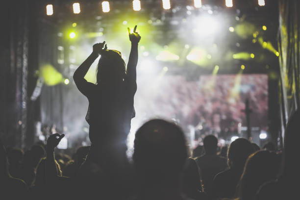 Crowd at rock music concert stock photo