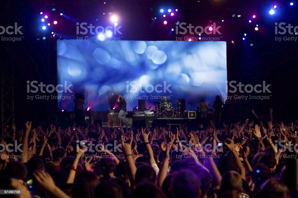 Crowd at the rock concert royalty-free stock photo
