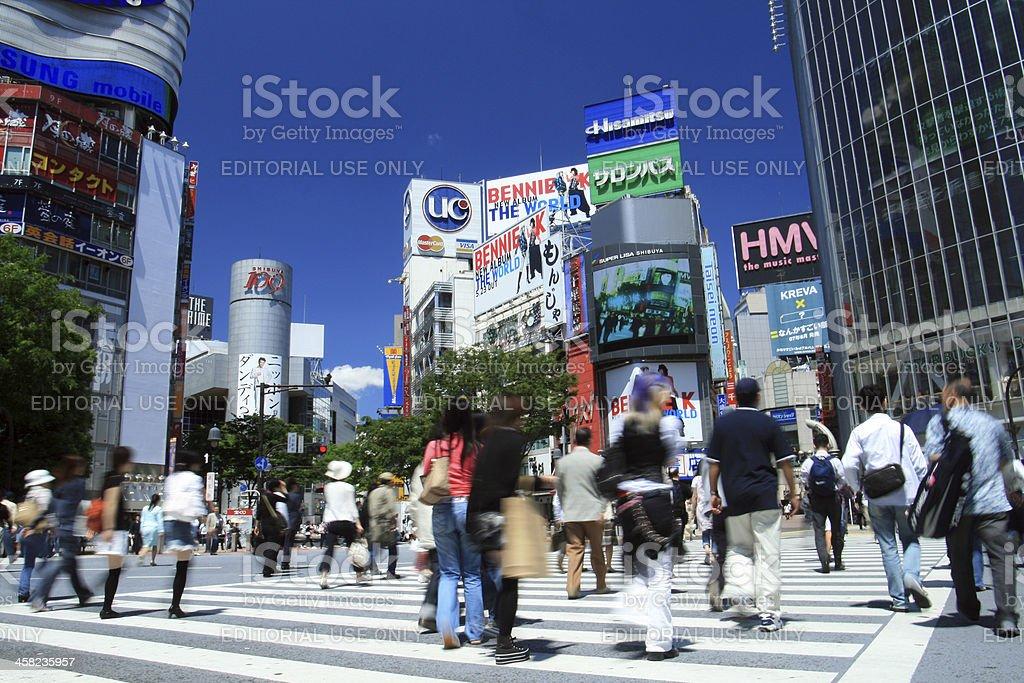 Crowd at the Shibuya crossing, Tokyo royalty-free stock photo