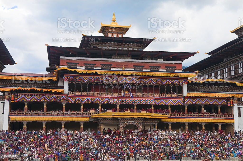 Crowd at Thimphu Festival in Bhutan stock photo