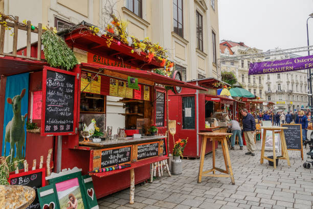 Crowd at Wien, Osterreich 2019 street market, where vendors from Austrian regions sell local food & drinks. stock photo