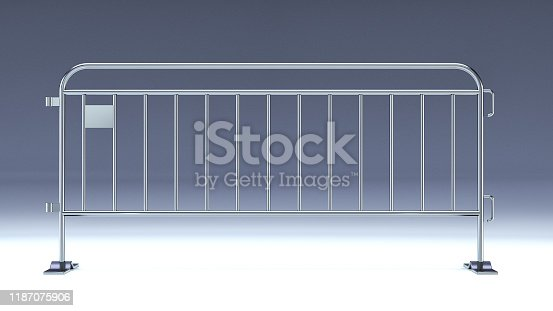 crowd barrier, fan divider, temporary metal security barrier mockup, 3d render isolated.