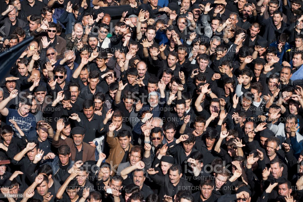 Crowd celebrating ashura in Ardebil,Iran stock photo