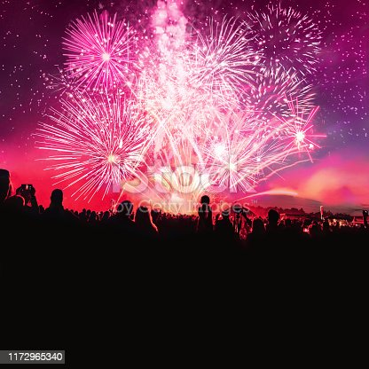 silhouettes of human crowd cheering in front of vibrant firework under night sky