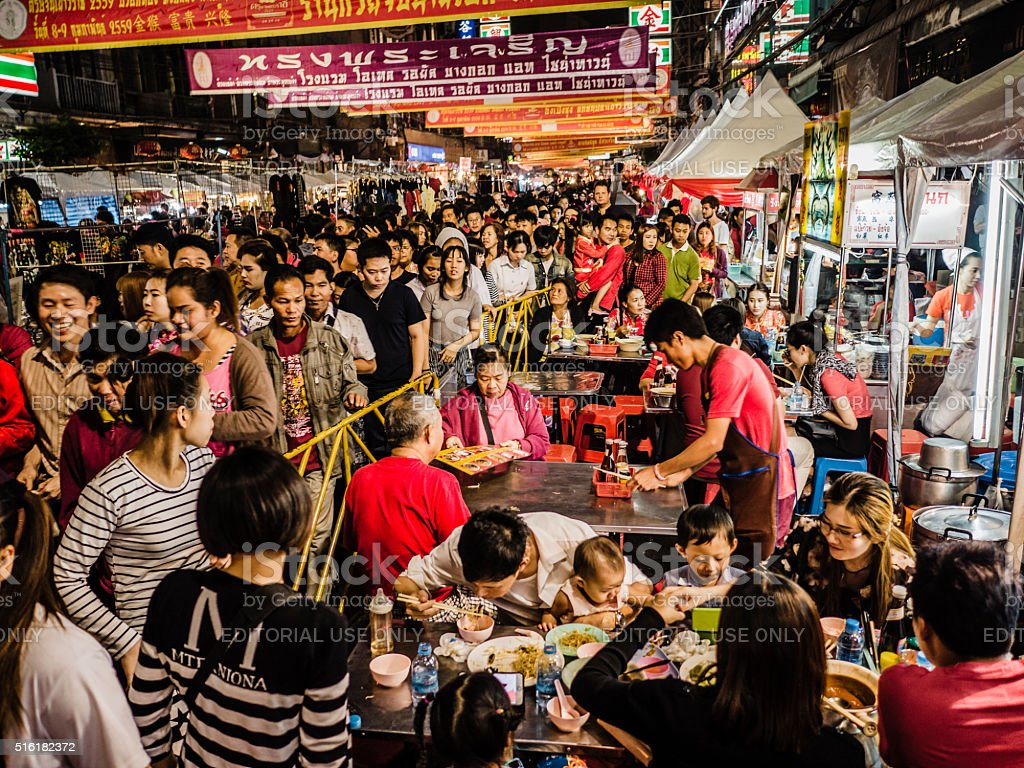 Crowd Chinese New Year Chinatown Bangkok stock photo
