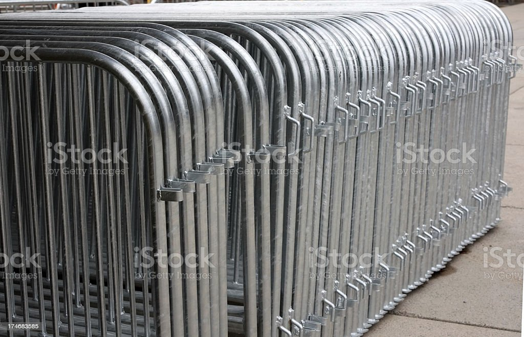Crowd control barriers royalty-free stock photo