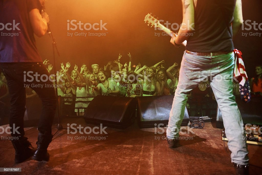 Feeling the love from their fans stock photo