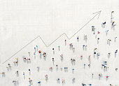 istock Crowd from above forming a growth graph 1204291206