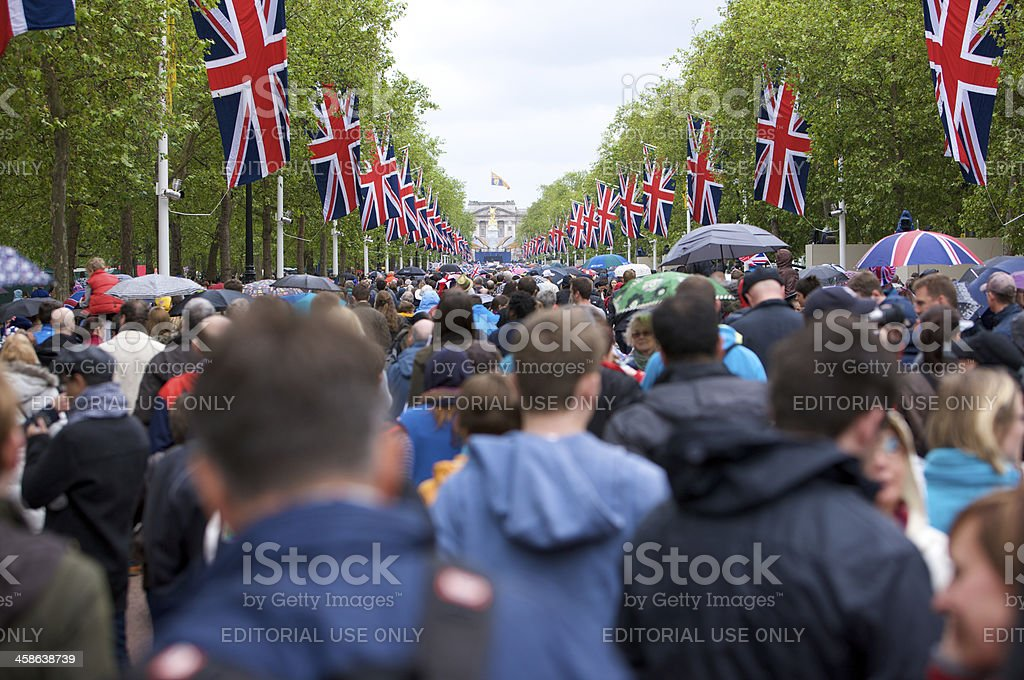 Crowd gathering on the Mall after Queen's Diamond Jubilee procession royalty-free stock photo