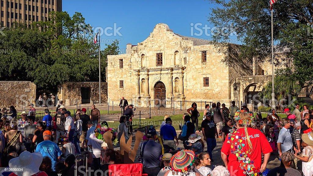 Crowd Gathers for Annual Fiesta San Antonio Celebration in Front stock photo