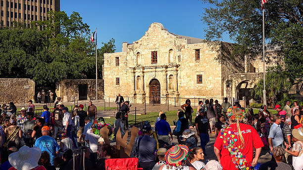 crowd gathers for annual fiesta san antonio celebration in front - the alamo stock photos and pictures