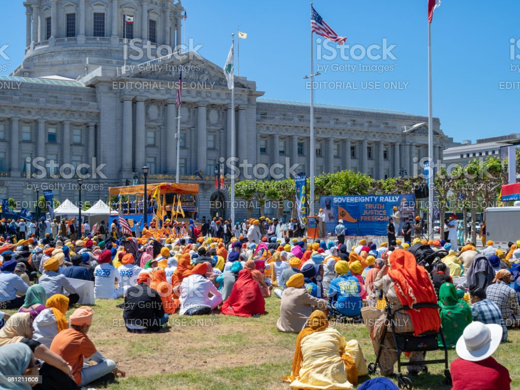 Crowd gathers in support of 2020 Punjab referendum sovereignty rally outside San Francisco City Hall stock photo