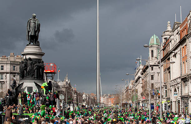 Crowd in Dublin on St. Patrick's Day