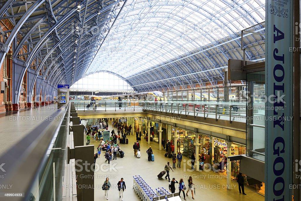 Crowd in St Pancras Railway Station, London - England stock photo