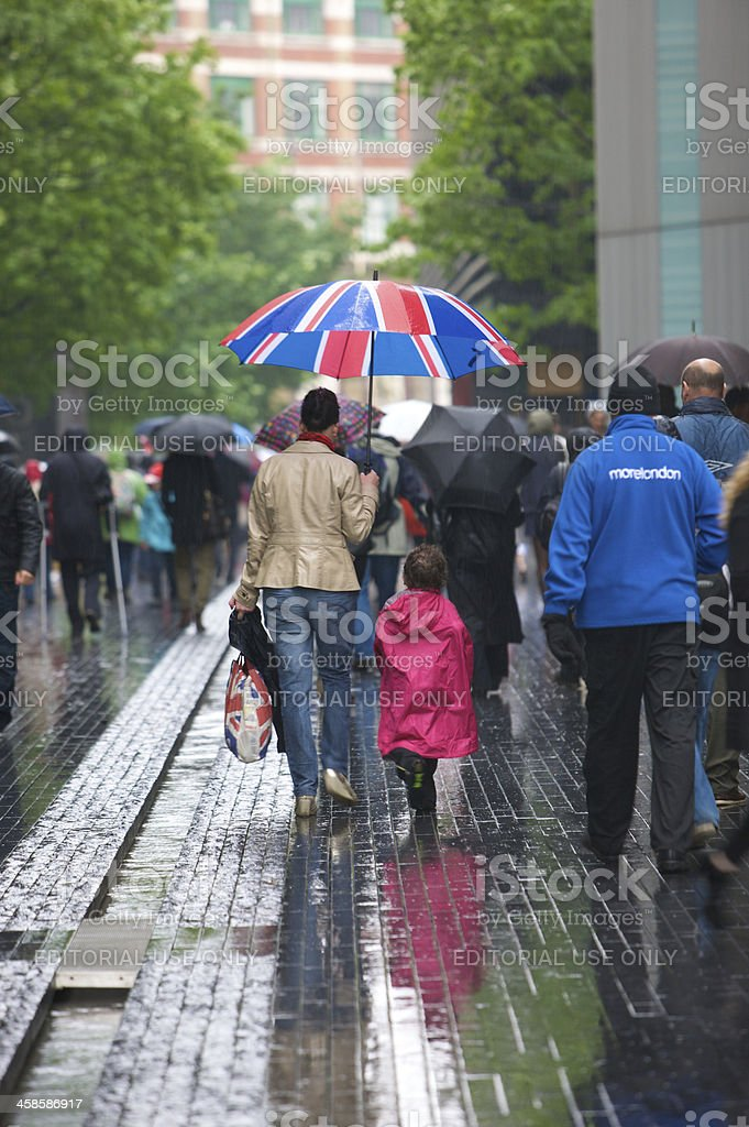 Crowd leaving after the Queens Diamond Jubilee River Pageant royalty-free stock photo