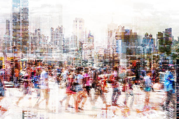 multitud de personas anónimas caminando en la ajetreada calle de la ciudad-concepto de vida de ciudad abstracta - lleno fotografías e imágenes de stock