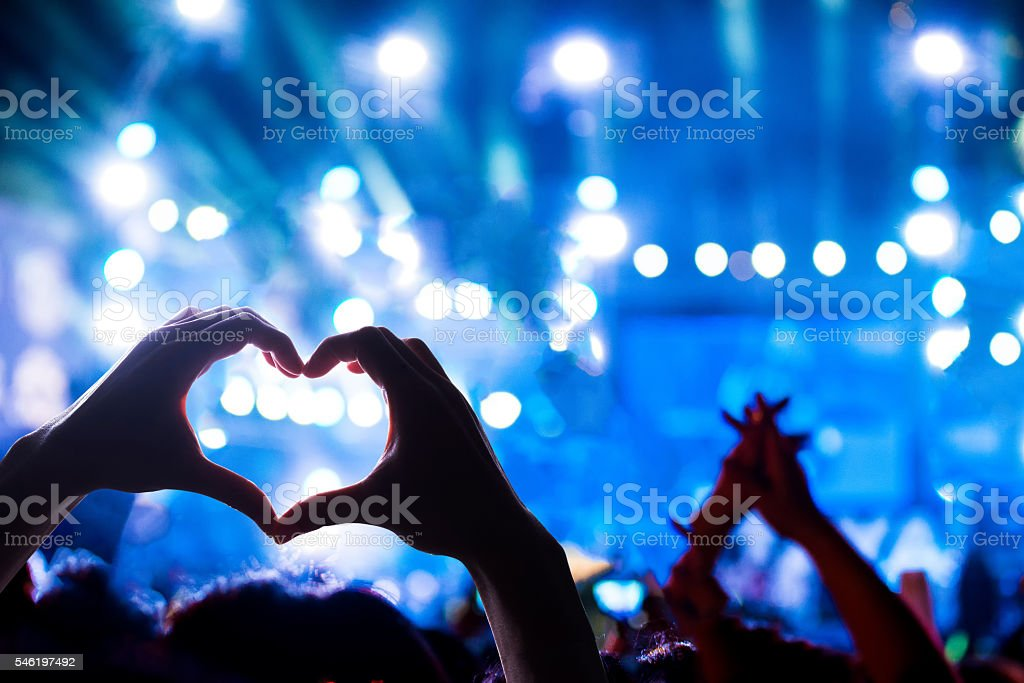 Crowd of Audience at during a concert royalty-free stock photo