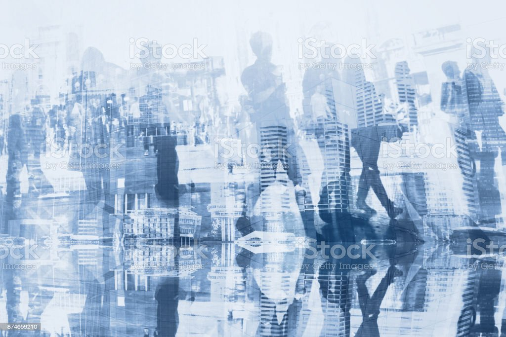 crowd of business people commuters double exposure stock photo