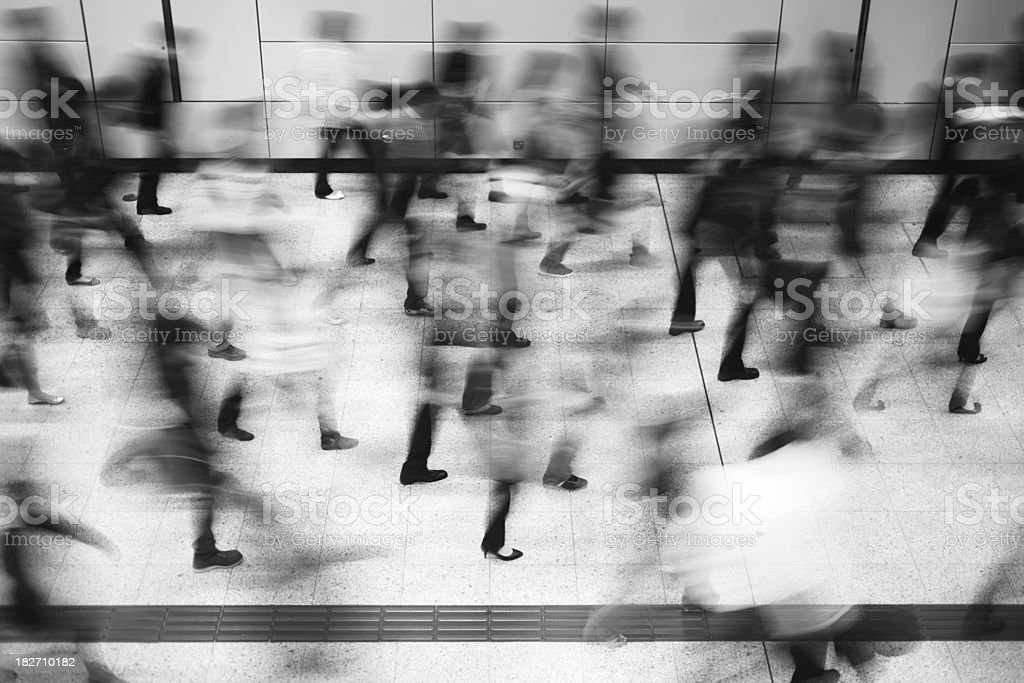 Crowd of Busy Commuters royalty-free stock photo