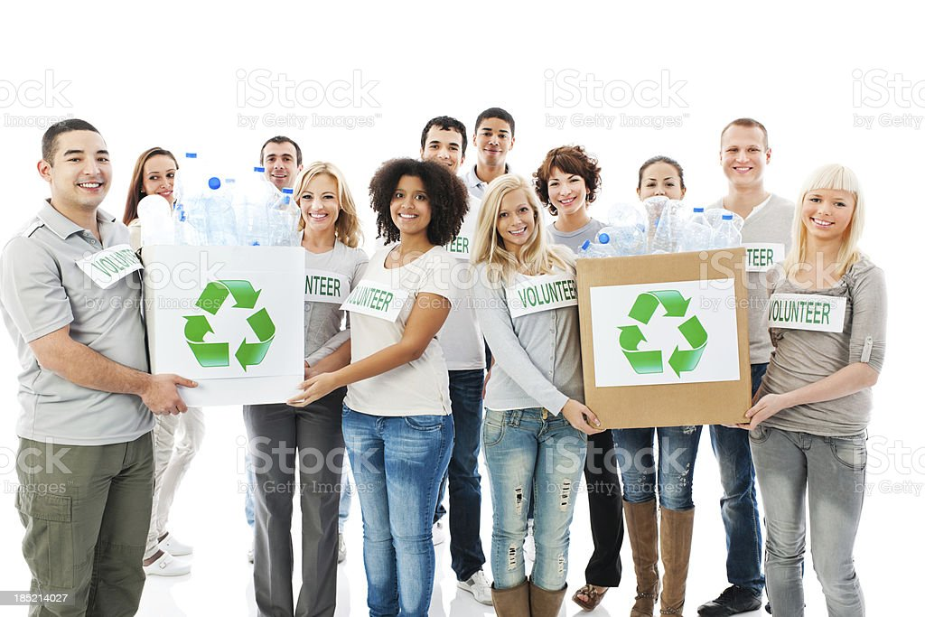 Crowd of cheerful volunteers holding recycling  boxes. royalty-free stock photo