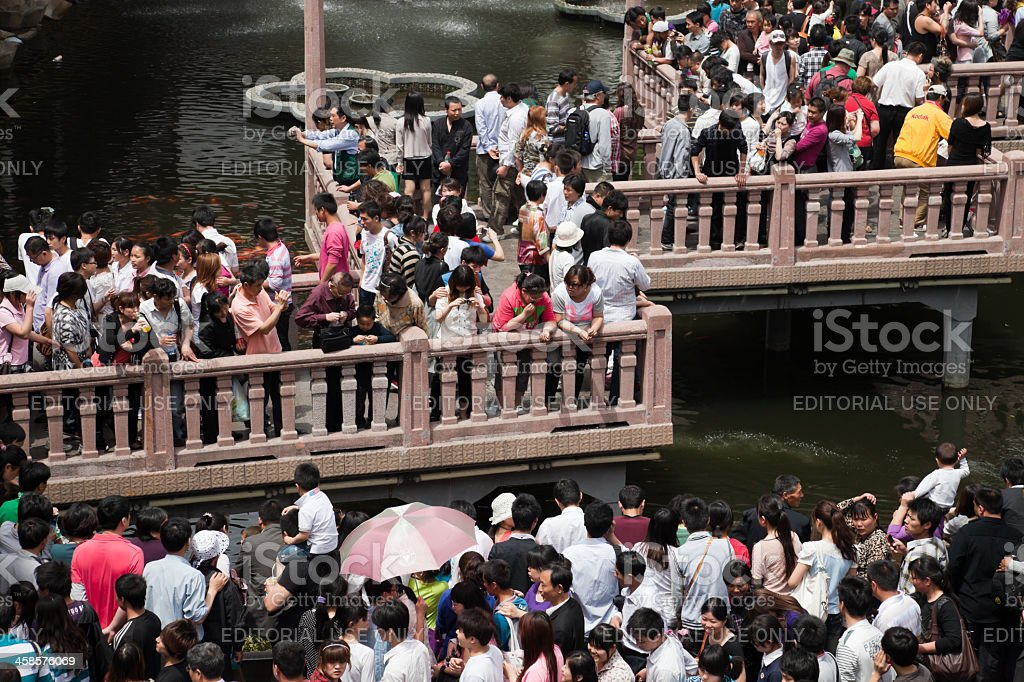 Crowd of Chinese tourists, Shanghai, China royalty-free stock photo