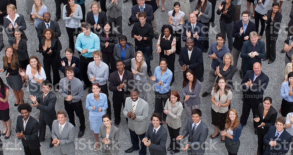 Crowd of clapping business people royalty-free stock photo