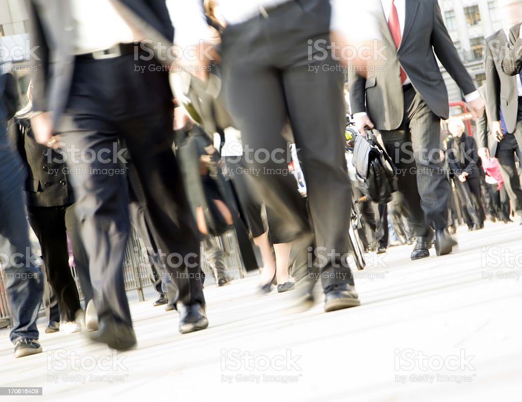 Crowd of commuters feet with movement blur, London UK royalty-free stock photo