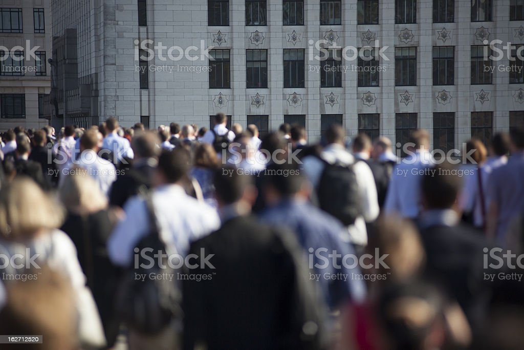 Crowd of commuters on London Bridge 10 stock photo