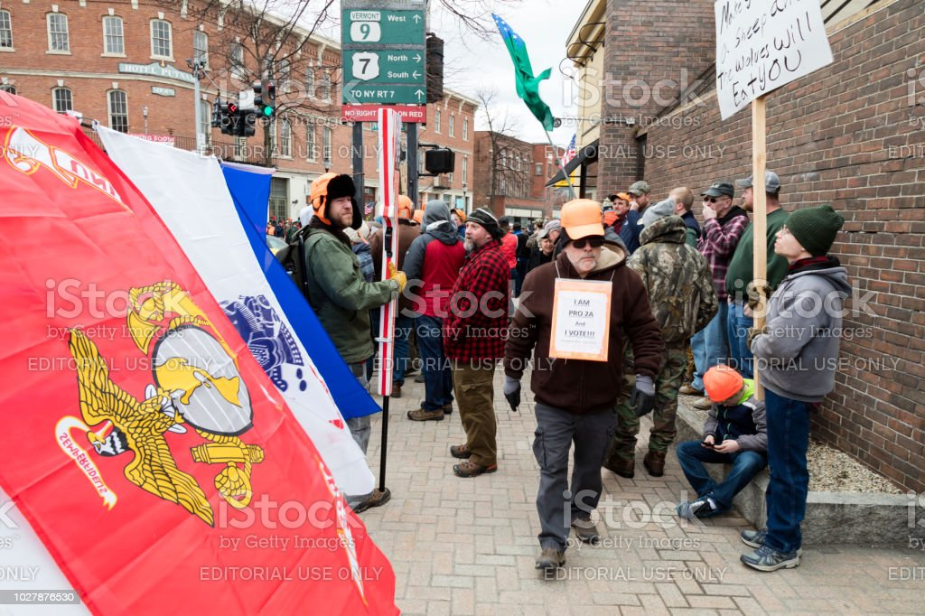 A crowd of gun rights supporters filled the Four Corners downtown of Bennington, to protest the Legislature's passage of S.55, legislation that puts new limits on gun ownership in Vermont. stock photo