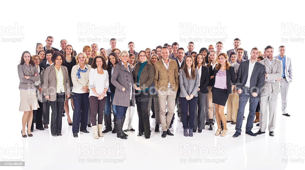Crowd of happy business people isolated on white. stock photo