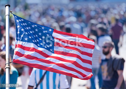 Crowd of People as Background and the USA Flag - Image